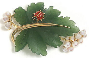 Vintage grape leaf brooch with lady bug,  14Kt, pearls