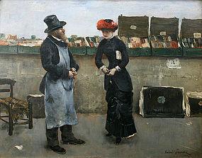 Norbert Goeneutte painting of Parisian bookseller