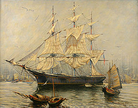Captain Arthur Small painting, Clipper ship Stag Hound