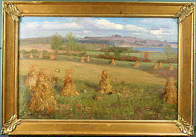 Edwin B. Child Vermont painting of haystacks and chickens