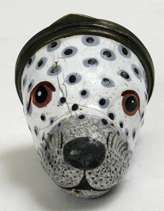 Bilston figural enamel bonbonniere box of a seal's head