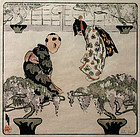 Helen Hyde color woodblock print - The Greeting, 1910