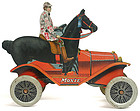 Moxie Horsemobile lithographed tin pull toy car, c.1917