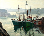 Cesare A. Ricciardi marine painting, New England harbor