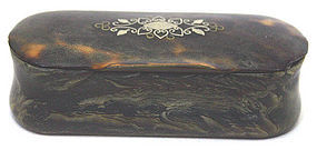 Georgian tortoiseshell and horn snuff box, with silver