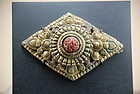 Rare Hindu Gilt Bronze and Coral Plate, Nepal, 17th C.