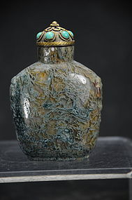 Moss Agate Snuff Bottle China, 19th C.