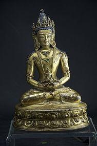Gilt Bronze Statue of Buddha Amitabha, Tibet, 18th C.