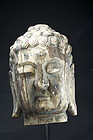 Important Head of Buddha, China, 18th C.