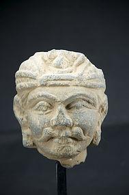 Stone head of a Nobleman, Gandhara, Ca. 3rd C.