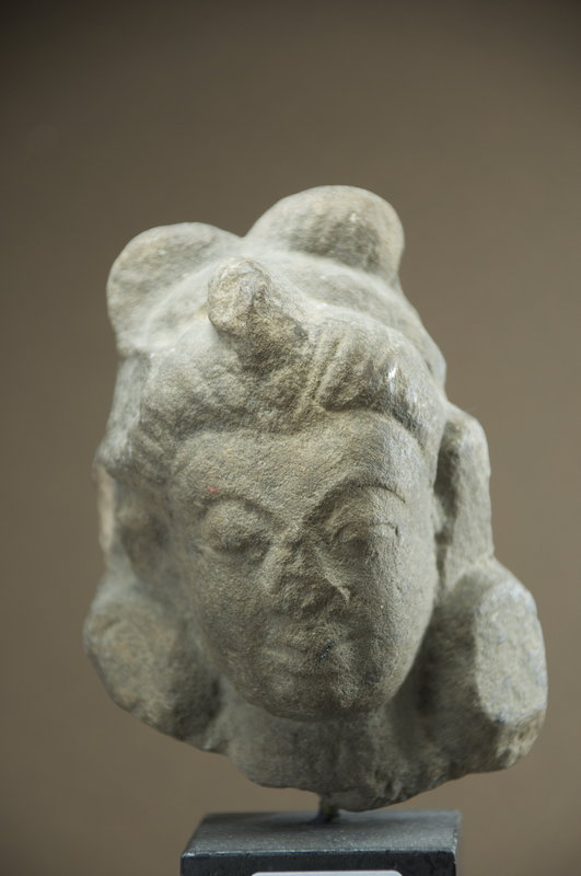Small Hindu Deity Stone Head, 16th C.