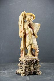Steatite Statue of a Fisherman, China, Early 20th C.
