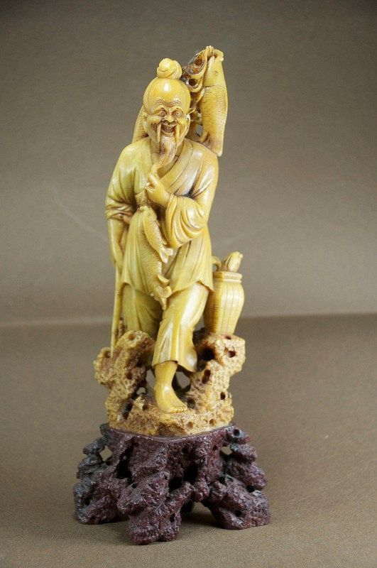 Statue of a Fisherman, Steatite, China, Early 20th C.