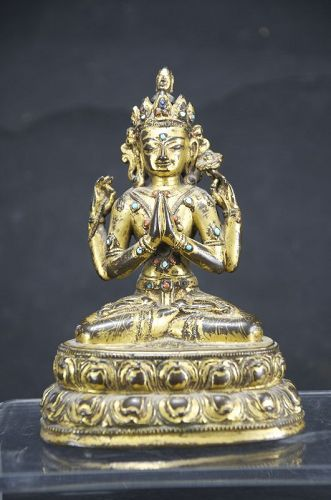 Important Statue of Sadaksari Avalokitesvara, Tibet, 16th C.
