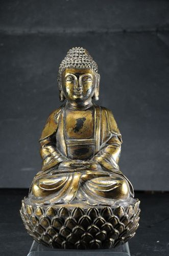 Gilt Bronze Statue of Buddha Amithaba, China, 19th C.