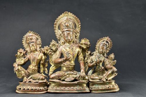 Exceptional Indra Triad, Gilt Copper, Nepal, Newar, 15th/16th Century
