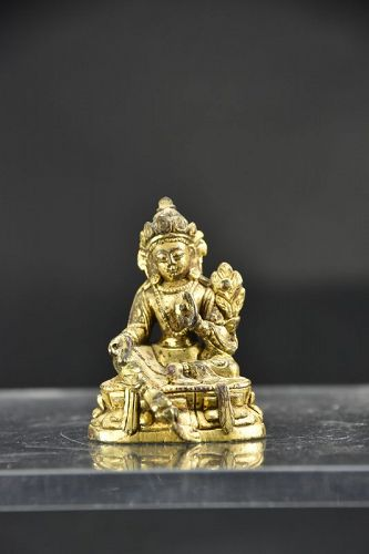 Gilt Bronze Tiny Statue of Green Tara, Tibet, 19th C.