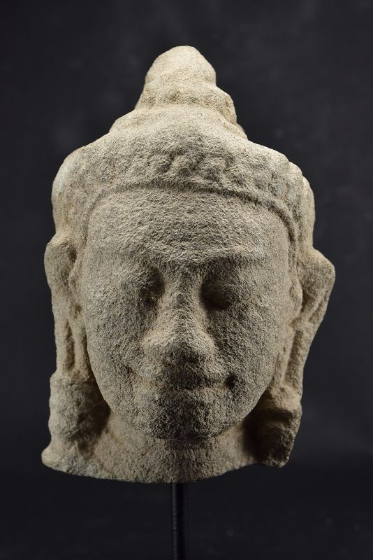 Stone Head of Buddha, Khmer Bayon Style, Ca. 13th C.