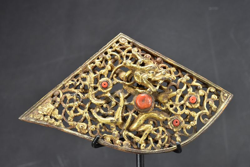 Gilt Iron Dragon Plate, Tibet, 18th Century