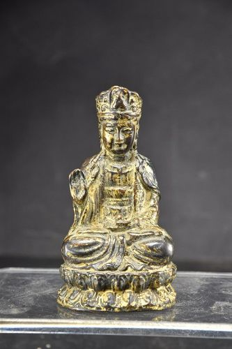 Small Gilt Bronze Statue of Kuan Yin, China, 19th C.