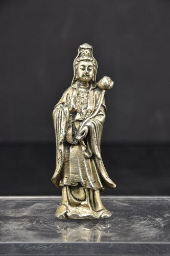 Miniature Solid Silver Statue of Kuan Yin, China, 19th C.