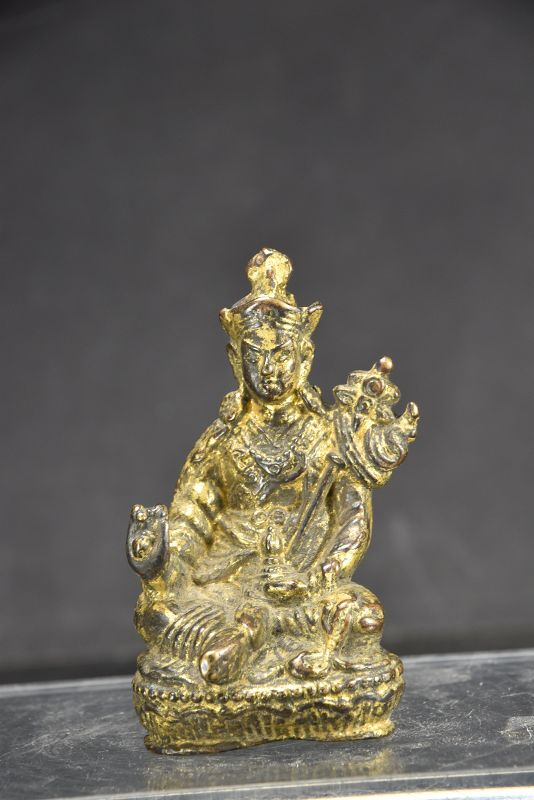 Small Gilt Copper Statue of Padmasambhava, Tibet, 19th C.