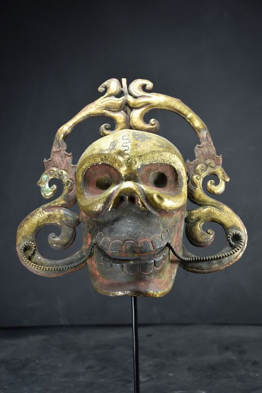 Rare Gilt Bronze Citipati Mask, Tiobet, 18th Century