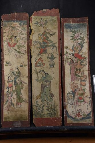 Set of Three Tibetan Tantric Paintings, Early 19th C.