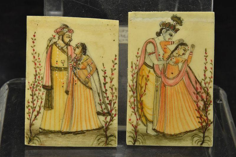 A Pair of Miniature Paintings on Ivory, India, 19th C.