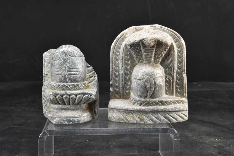 A Pair of Stone Shiva LIngam, India, Early 19th C.