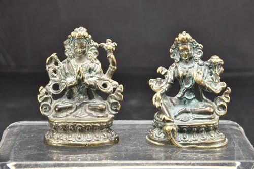 A Pair of Miniature Statues of Bodhisattvas, Tibet