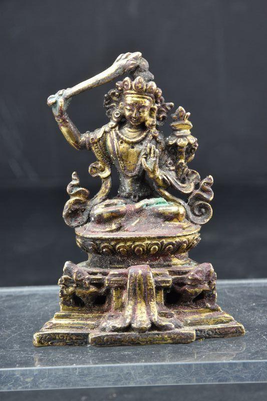 Gilt Bronze Small Statue of Bodhisattva Manjusri, Tibet, 18th C.
