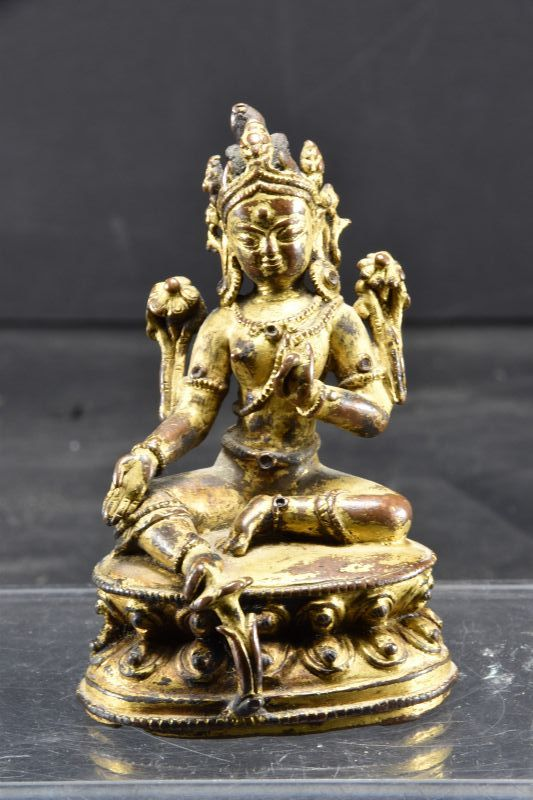 Important Gilt Bronze Statue of Green Tara, Nepal, Ca. 16th C.