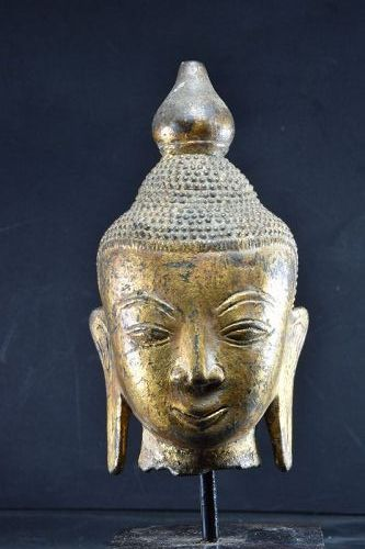 Gilt Bronze Head of Buddha, Burma, 18th C.