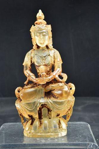 Rare Glass statue of Buddha Vajrasattva, China, Qing Dynasty