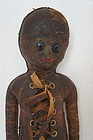 Black doll made of leather shoe button eyes 1900