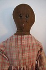Big old grand black doll with shoe button eyes 25""