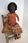 Antique black cloth doll early and great 24""
