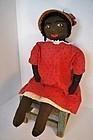 """28"""" big heavy black cloth doll with a wonderful face"""