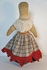 "14"" pencil face cloth doll  antique great skirt"