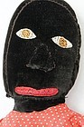 Folk art large black doll with amazing face C 1920
