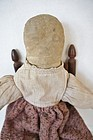 """Antique pencil face cloth doll heavy and nice 16"""""""