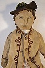 "21"" antique cloth doll with ink drawn face"