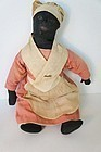Antique black cloth doll made with feedsack 1920