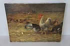 Antique barnyard painting by Charles F. Pierce