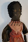 Southern looking black doll embroidered face antique