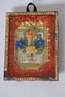 Very small antique framed love token with paper flowers