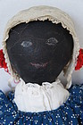 Large beautiful painted face black cloth doll antique 1880 24""