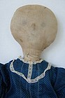 Very folky lollipop head cloth rag doll antique 20""