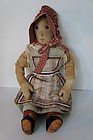 "Shoe button eye rag doll with calico bonnet 18"" antique"